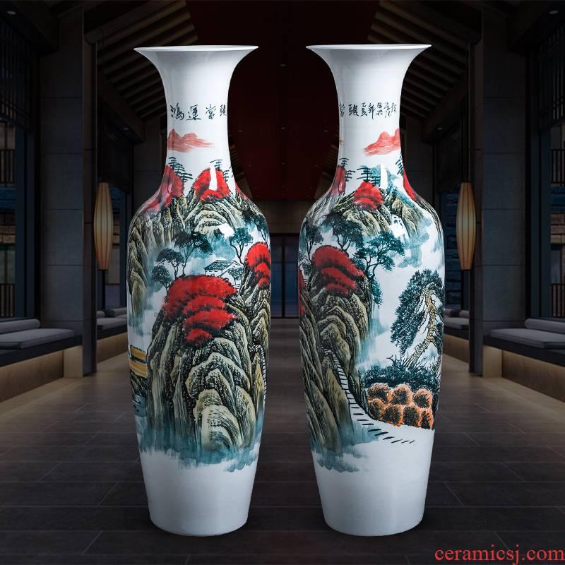Jingdezhen porcelain ceramic hand - made landing large vases, sitting room home housewarming hotel adornment furnishing articles
