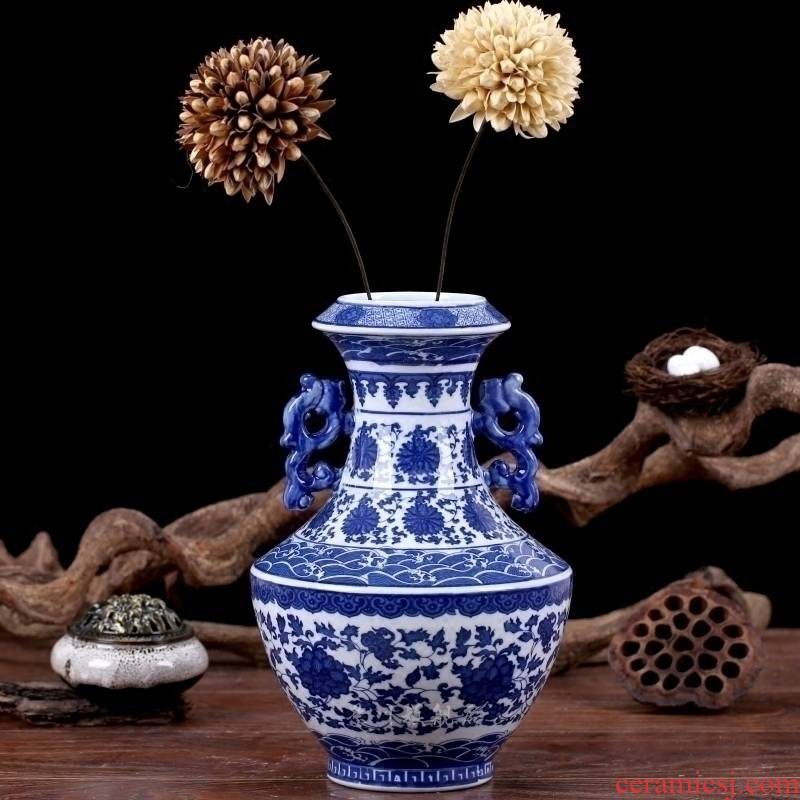 Mesa vase of jingdezhen blue and white ears tie up lotus flower blue and white ceramics modern household decorates sitting room furnishing articles