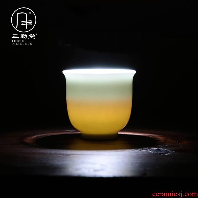 The three frequently kung fu jingdezhen ceramic sample tea cup tea cups celadon jade porcelain cups pu - erh tea masters cup
