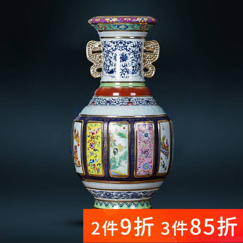 Jingdezhen porcelain ceramic imitation qianlong imperial landing big porcelain vase mother double ears home sitting room adornment is placed