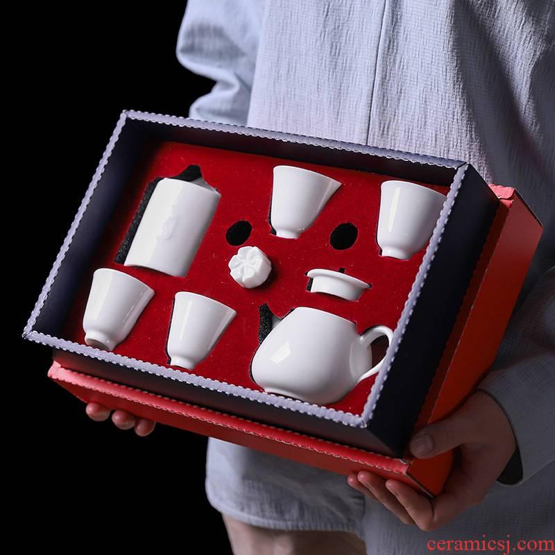 Dehua white porcelain kung fu tea set suit household pure white ceramic tea cup small set of gift boxes of custom logo