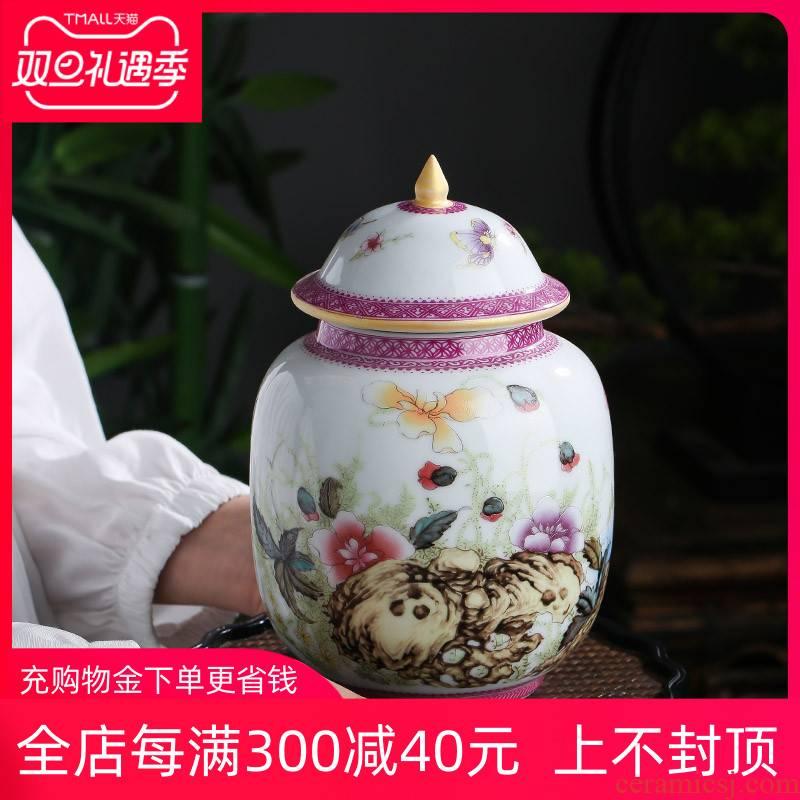 Jingdezhen chinaware paint colored enamel household puer tea caddy fixings wake tea storage canners trumpet half jins