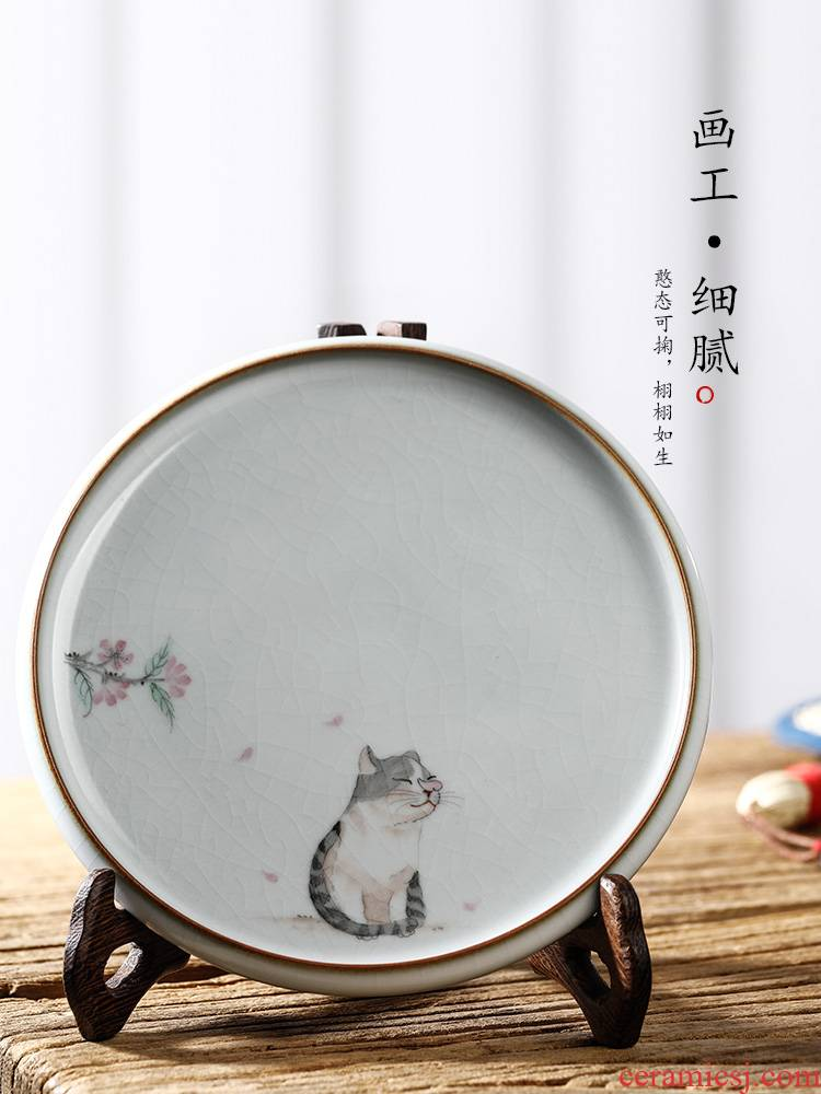Hand draw your up pot of bearing dry Taiwan jingdezhen checking tea ceramic cat teacup pad open a piece of tea table accessories
