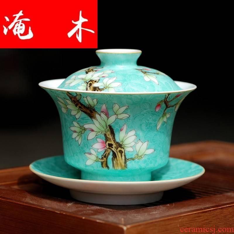 Submerged wood jingdezhen ceramic tea set manually hand - made pierced way pick flowers pastel demand paint tureen archaize kung fu