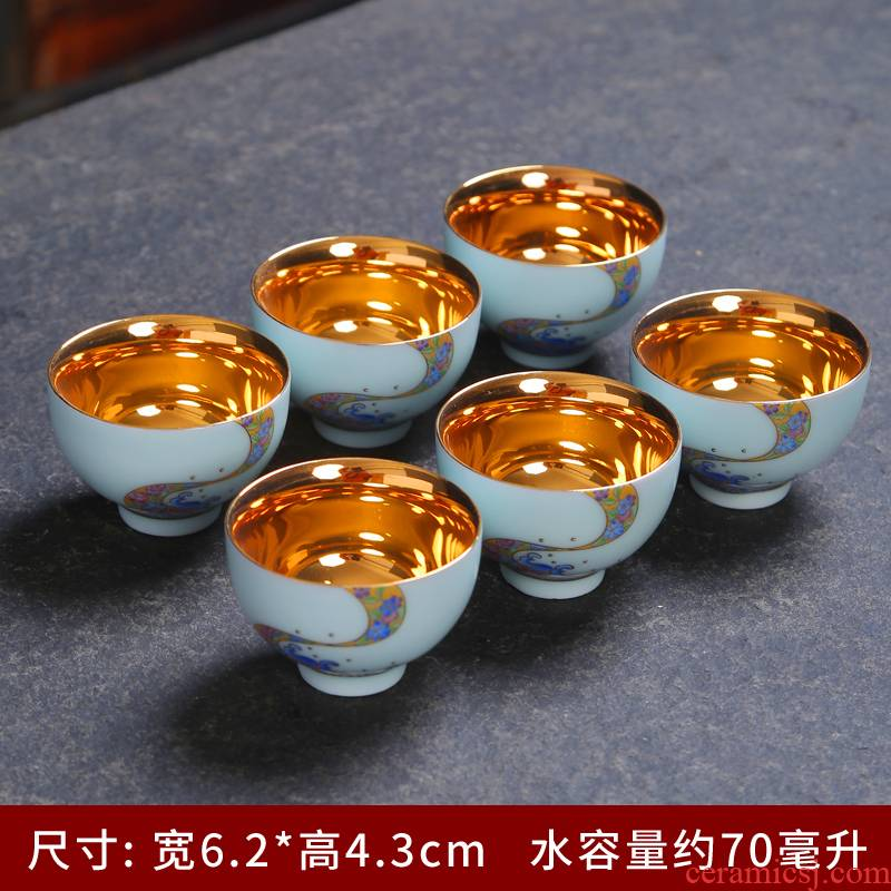 Celadon kung fu tea set kit ceramic household small tureen teapot teacup set office contracted tea tea set
