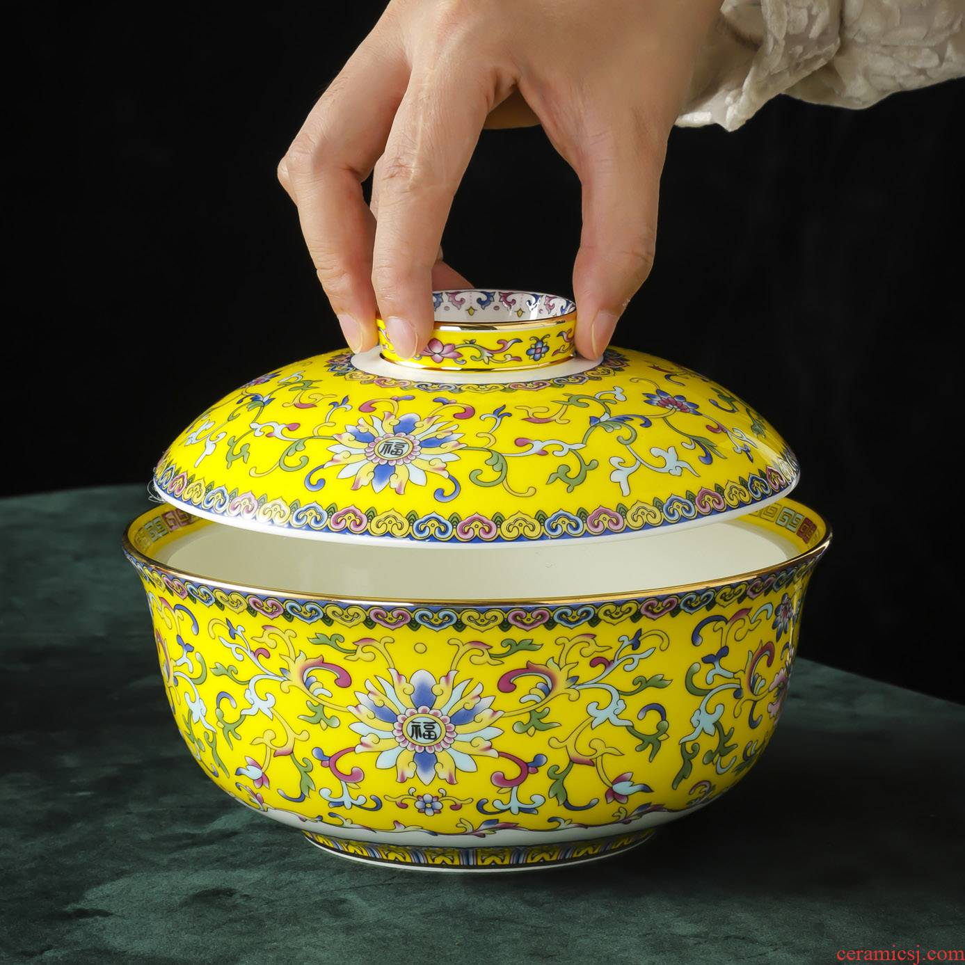 Jingdezhen porcelain enamel made pottery with cover mercifully rainbow such use Chinese style household porringer student canteen dormitory tableware bowls