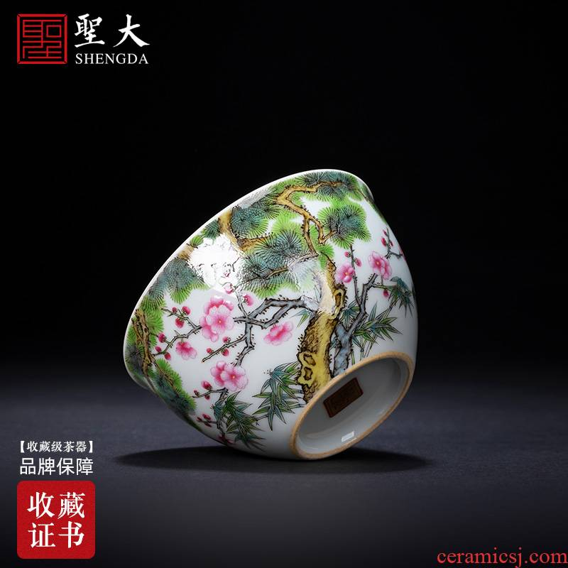 St teacups hand - made ceramic kungfu enamel years poetic poetic cylinder cup cup single cup of jingdezhen tea service master