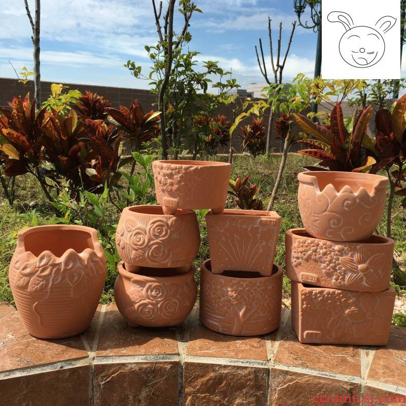 Red clay POTS potted meat more creative move Red clay ceramic flower POTS round square feet have Red pottery flowerpot