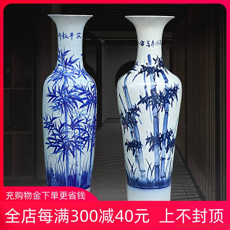 Bamboo at hand made blue and white porcelain vase landed safely big vase jingdezhen ceramics sitting room adornment furnishing articles