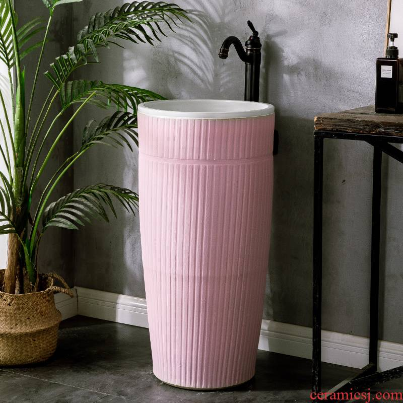 Morandi color ceramic column basin floor type restoring ancient ways art basin bathroom home the pool that wash a face to wash your hands