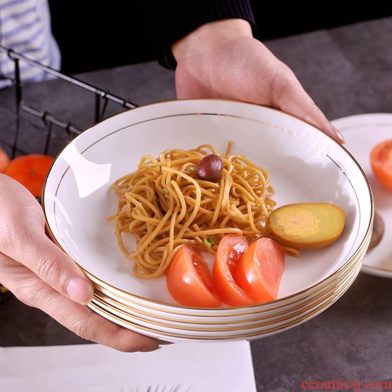 Jingdezhen ceramic checking gold 】 【 up phnom penh FanPan household creative new suit European ceramic deep dish
