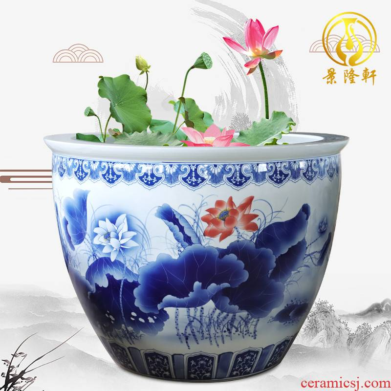 Blue and white porcelain of jingdezhen ceramics birdbath oversized 1 meter large vats porcelain jar aquarium bowl aquarium water turtle box