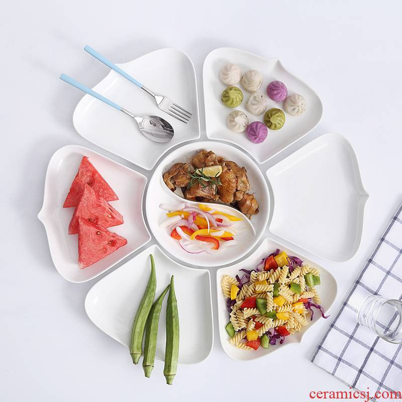 Ceramic platter creative dishes irregular circular plate combination bowl of the spoon home plate Japanese - style tableware suit