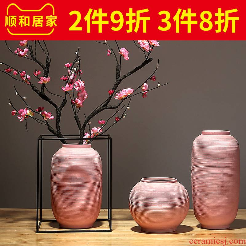 Jingdezhen ceramics by hand vase modern new Chinese style home sitting room porch household dry flower arranging flowers is placed