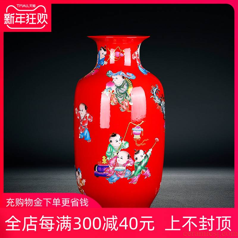 Jingdezhen ceramics of large vase furnishing articles China red lad high figure sitting room of Chinese style household ornaments