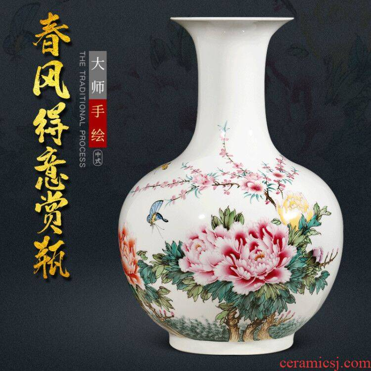 New Chinese style living room home wine ark, adornment furnishing articles famous jingdezhen ceramics hand - made famille rose flower vase