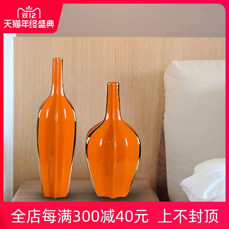 Jingdezhen mesa vase in the new European sitting room porch TV ark, dry orange blue flower arranging furnishing articles club hotel