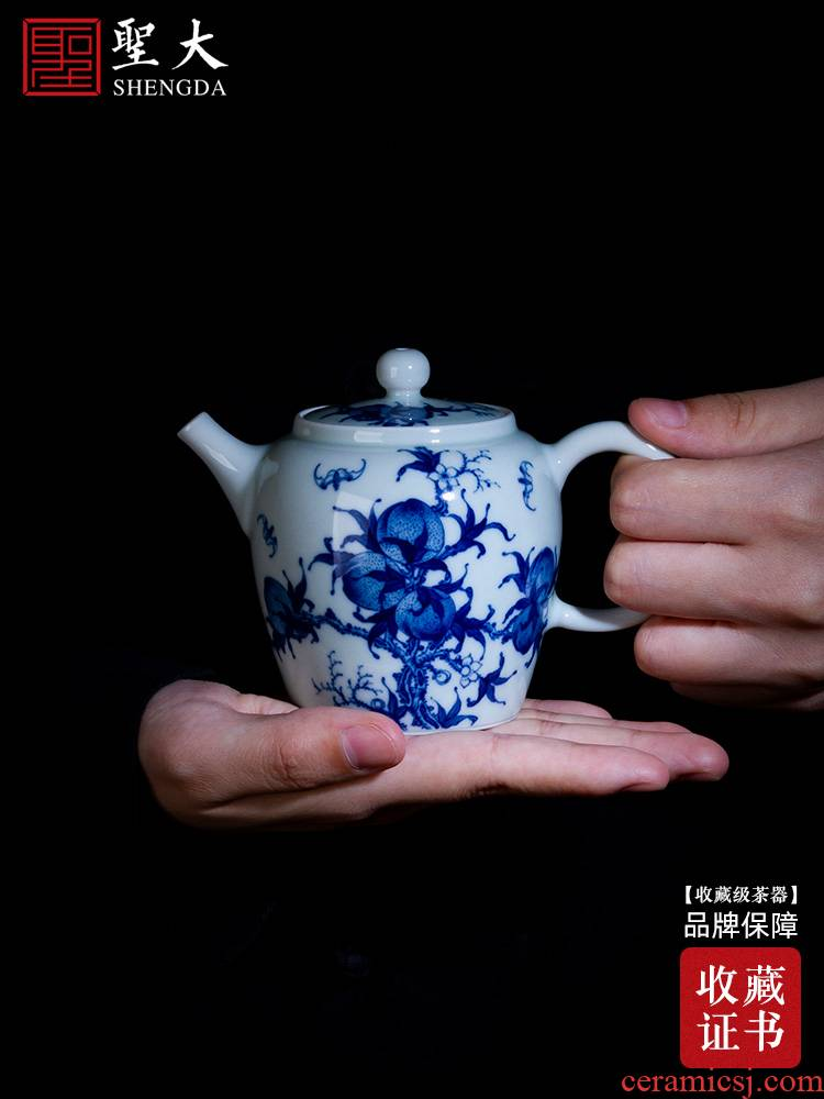 Holy big ceramic kung fu tea pot teapot manual teapot hand - made jingdezhen blue and white, red peach teapot tea by hand