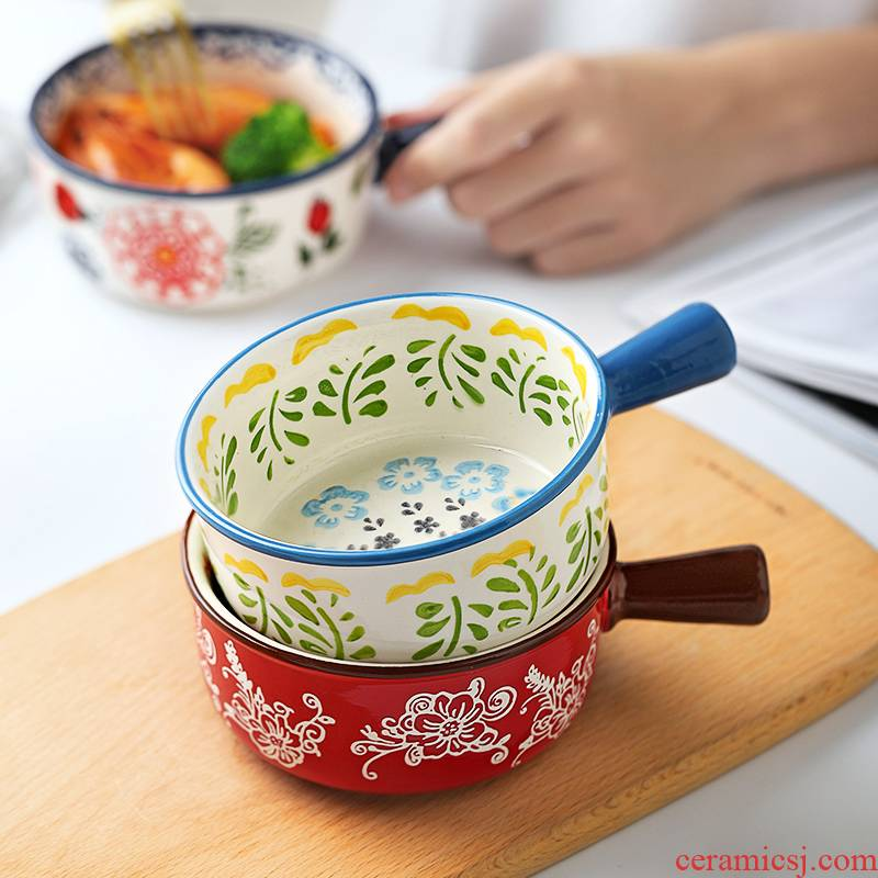 Creative with handle ceramic bowls a single pack noodles super express one of Japanese household utensils microwave food