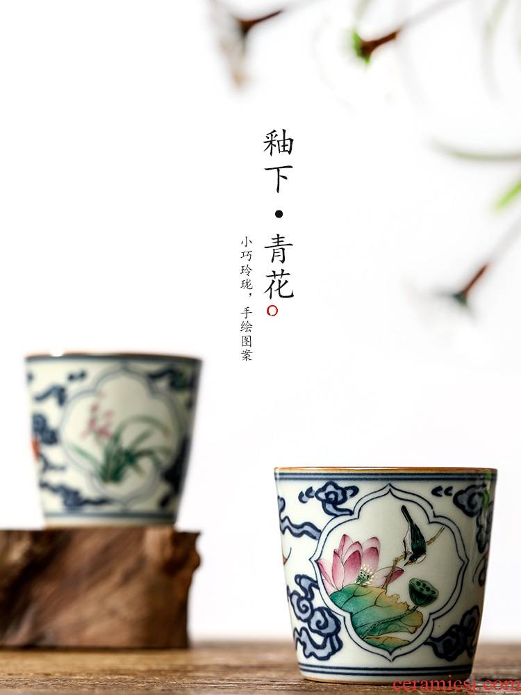 Jingdezhen blue and white ceramic kung fu master cup single cup pure manual teacups hand - made flowers that open a window sample tea cup only