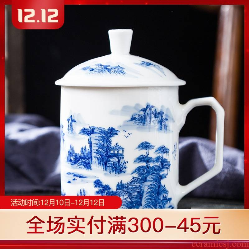 Folk artists hand - made mountains MinShe office of blue and white porcelain tea cups of jingdezhen ceramics with the single cups of water