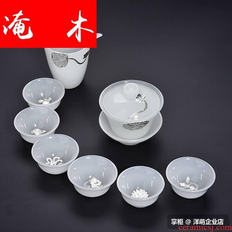 The Six cups X9 wood 2018 of a complete set of tea sets a pot of fair keller sample tea cup set white jade porcelain kung fu three cups