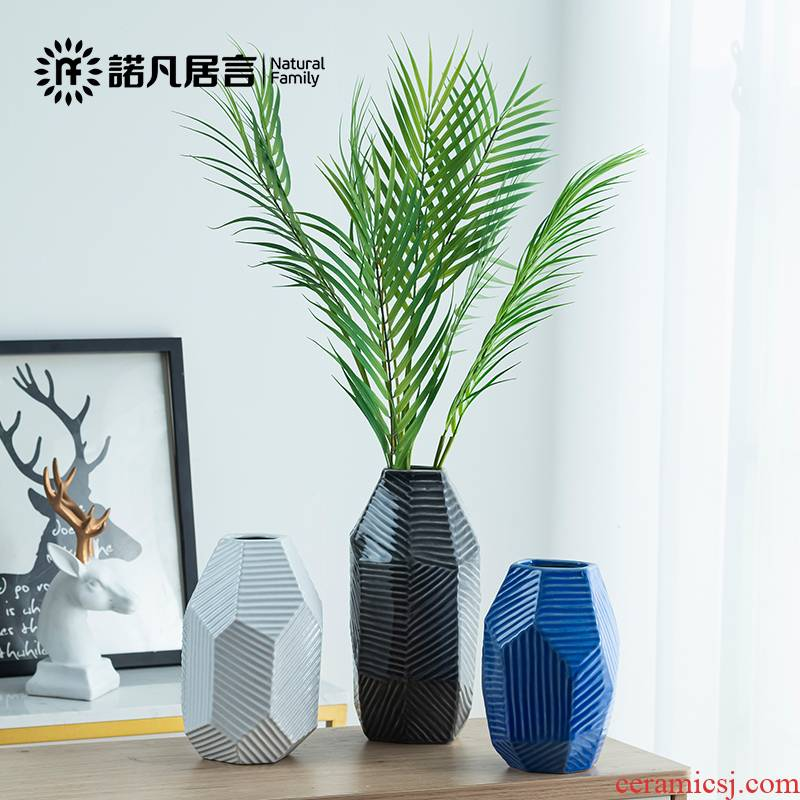 Mesa of ceramic vase geometric stripe creative European dried flowers flower arrangement furnishing articles I and contracted sitting room decoration decoration