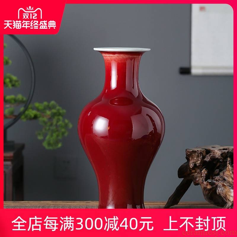 Jingdezhen ceramics vase sitting room adornment is placed creative ruby red glaze ji red table hotel opening gifts