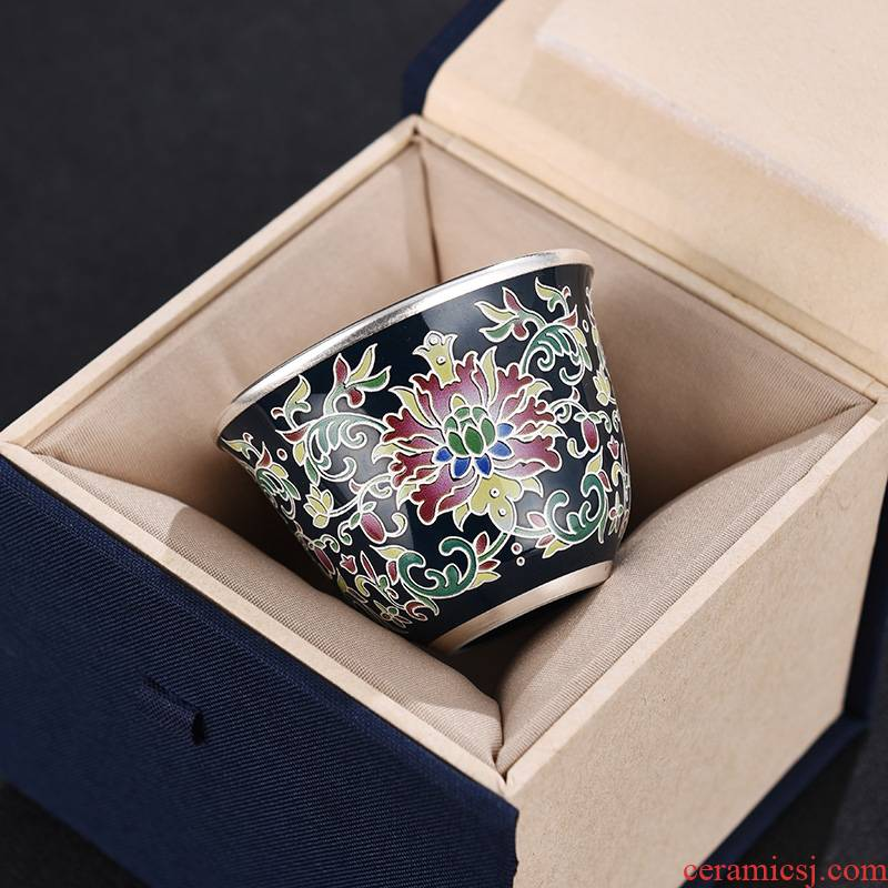 Jingdezhen manual silvering kung fu tea cups silver cups only 999 sterling silver cup bladder sample tea cup