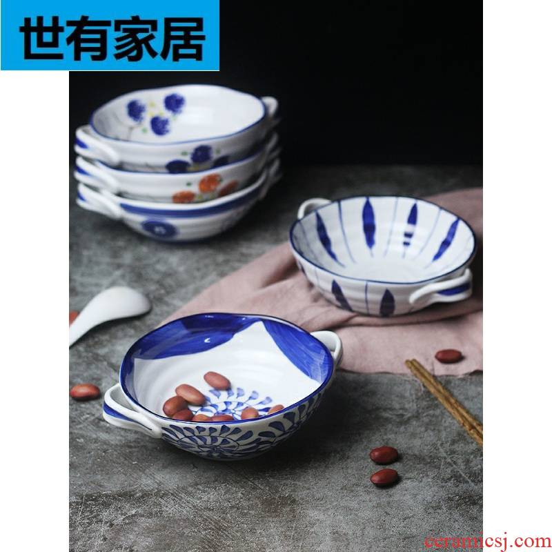 Japanese for job to pull mercifully rainbow such as bowl of blue and white porcelain tableware household imitation retro 7.5 inch Korean ears soup bowl