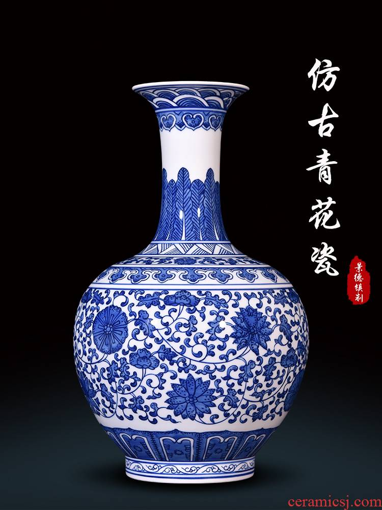 Blue and white porcelain of jingdezhen ceramics hand - made antique vases, flower arranging the sitting room of Chinese style household adornment TV ark, furnishing articles