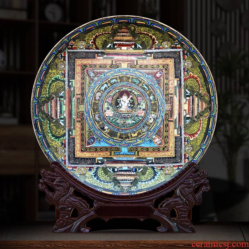 The Famille rose porcelain decorative plate of thangka to industry