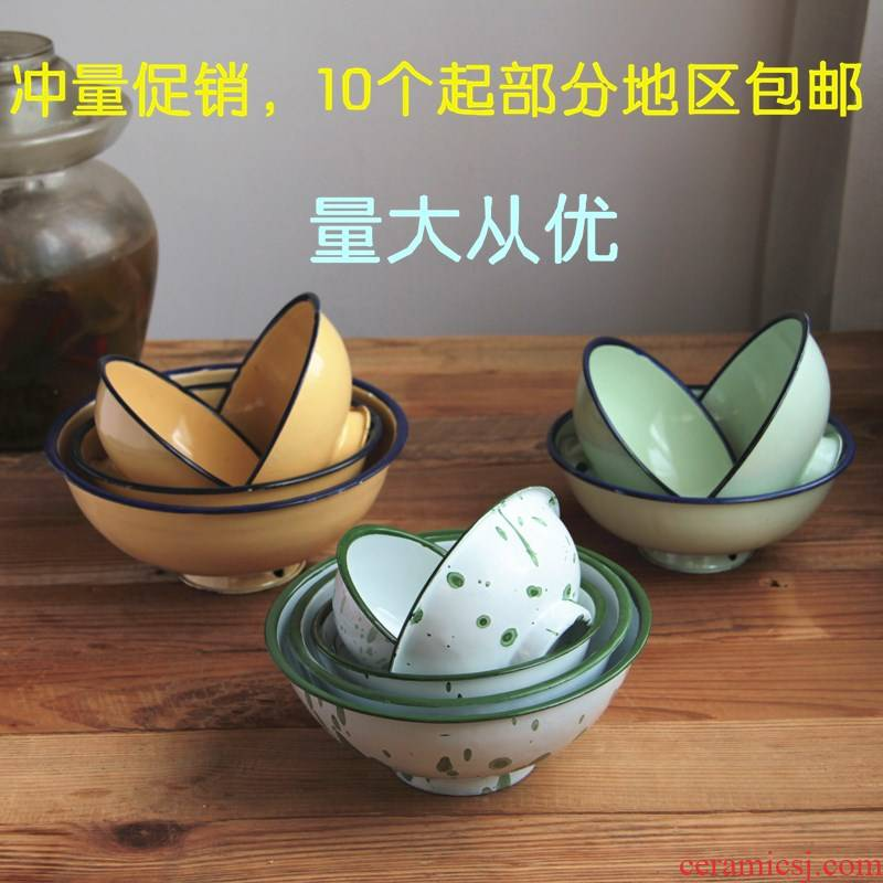 Old traditional bowl home ten bag mail enamel bowls of nostalgic Old job rainbow such use ice flowers yellow fruit clusters