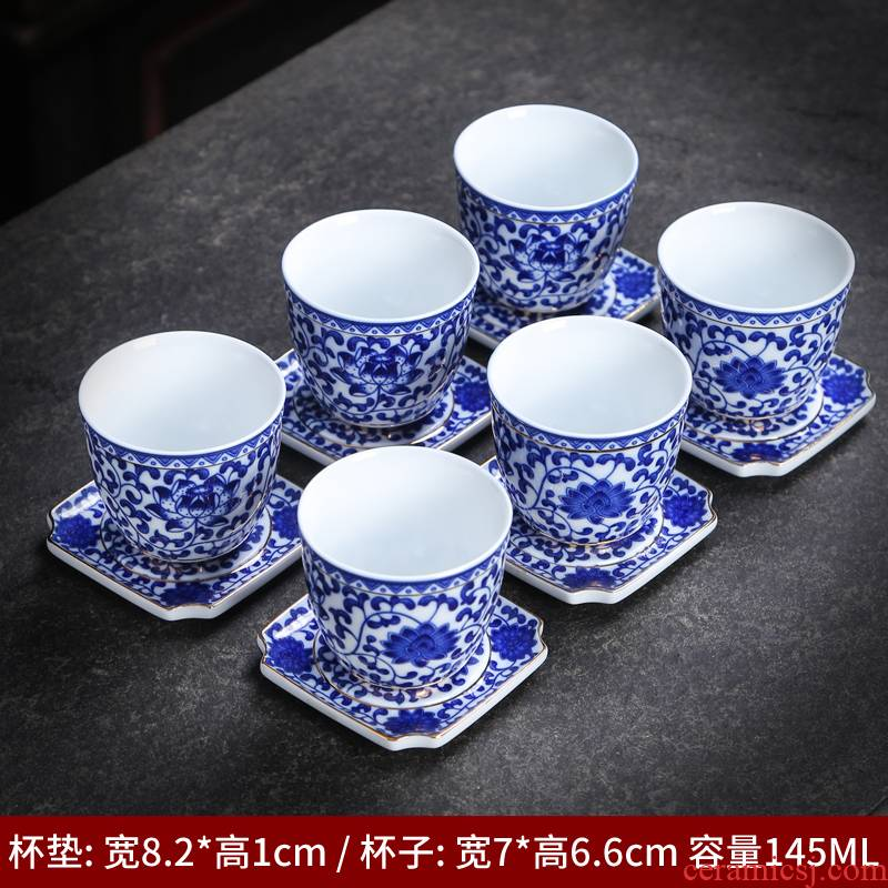 Pure hand - made ceramic cups antique imitation Ming blue and white porcelain tea light pressure hand cup tie up branch lotus masters cup single CPU tasted silver gilding