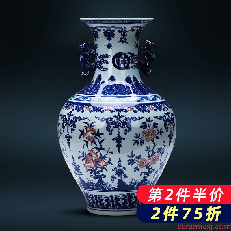 Jingdezhen porcelain ceramic antique vase of blue and white porcelain furnishing articles of Chinese style household living room TV cabinet flower decorations