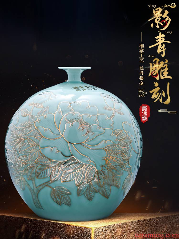 The Master of jingdezhen ceramics hand - made blue glaze vase Chinese style home furnishing articles of TV ark, wine sitting room adornment