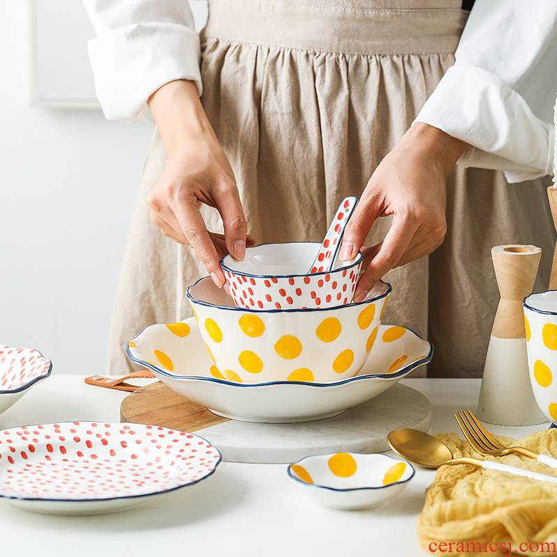 Nordic ins wind wave points to use of creative move of creative household crockery bowl dishes dishes rainbow such use