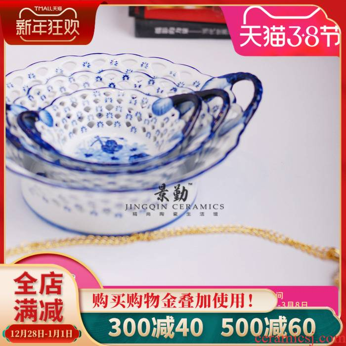 348 European fruit bowl three the layers of blue and white porcelain of jingdezhen ceramics fruit basket snack plate daily furnishing articles at home