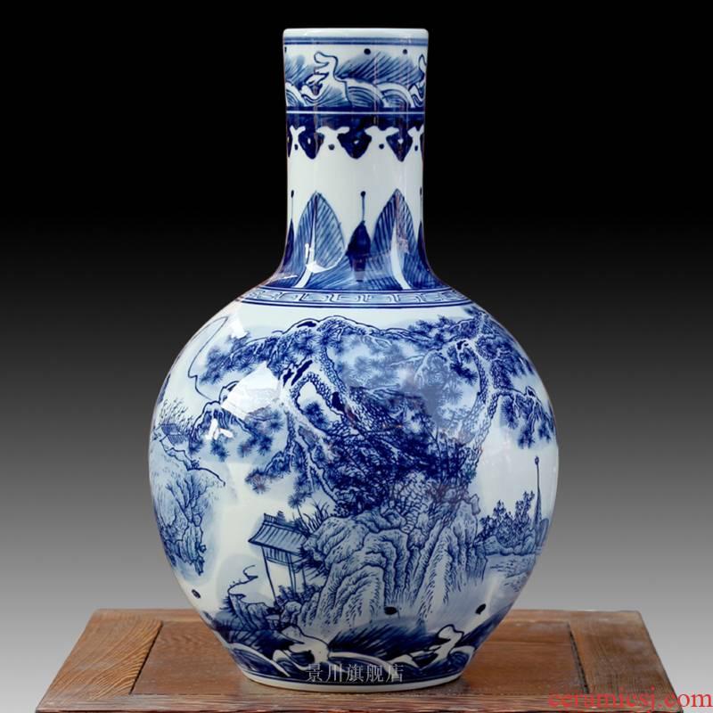 Jingdezhen porcelain vases, antique home decoration rich ancient frame of blue and white porcelain decoration wine furnishing articles