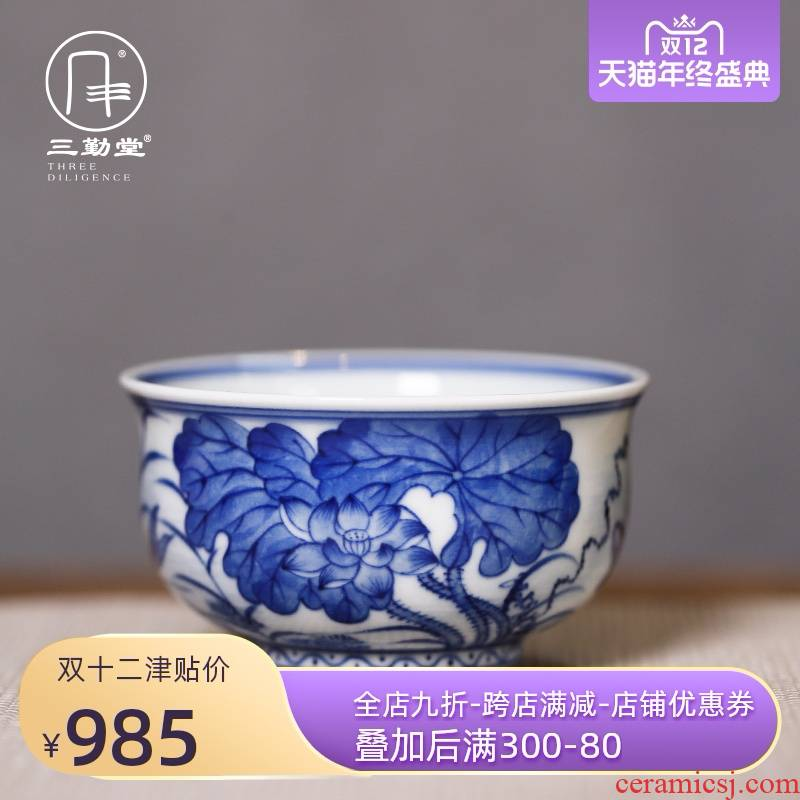 Three blue and white lotus single cup year after year have fish, for the blue and white porcelain sample tea cup host teacups hand - made teacup