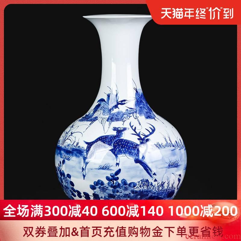 Jingdezhen ceramics hand - made antique glaze color of large blue and white porcelain vase under large bottles of sitting room adornment