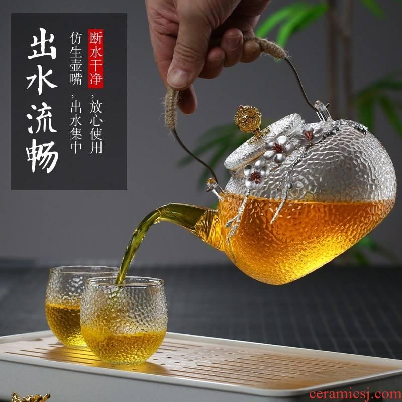 The Heat - resistant glass tea pot boiling pot teapot electric teapot domestic high temperature resistant filter girder TaoLu heated to boil tea