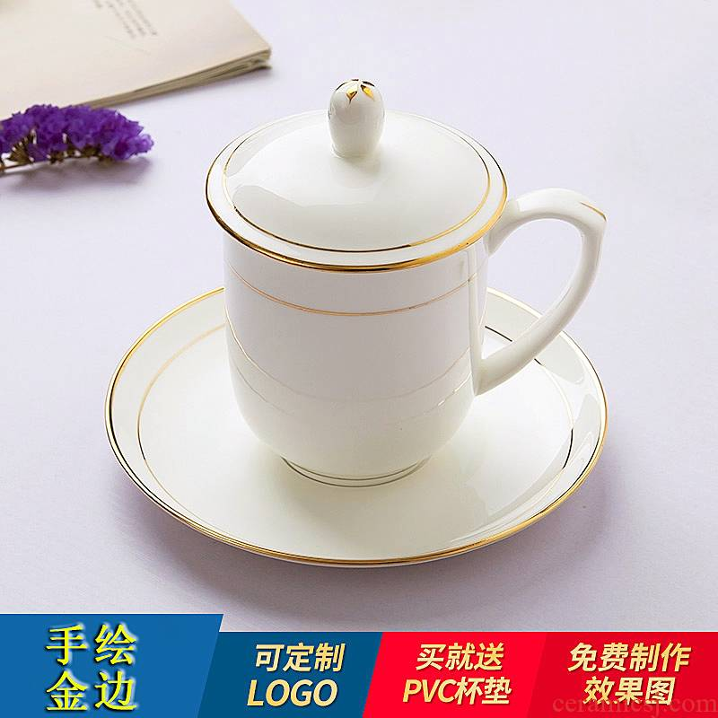 Jingdezhen ceramic cup with a lid hand - made paint edge ipads porcelain cup suit glass mugs office meeting