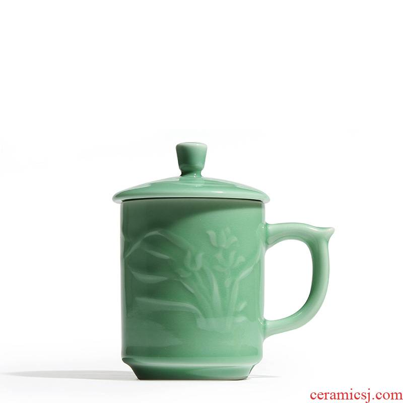 Longquan celadon ceramic mugs office personal special cups with cover business gifts gifts suit make tea cup