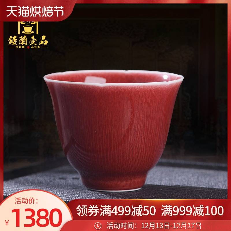 Jingdezhen up up with red glaze master cup single CPU female male individual sample tea cup high - grade ceramic cups. A single