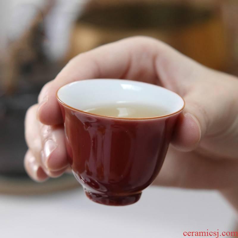 . Poly real boutique scene. The Sample tea cup tea master of jingdezhen ceramic color glaze cup single CPU personal kung fu tea set