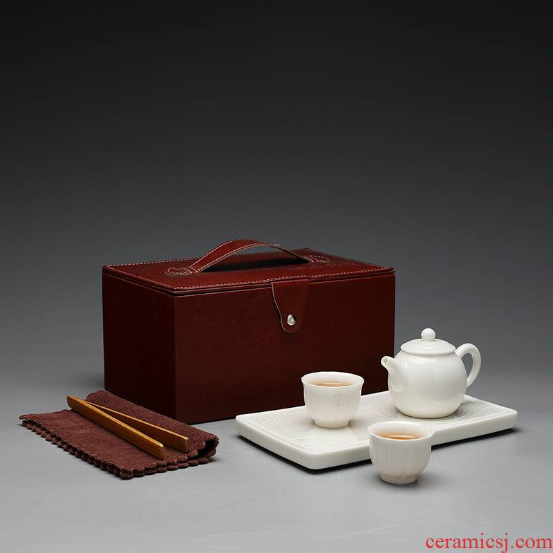 Travel a pot of tea set kung fu two cups of jingdezhen ceramics with tea tray was white porcelain on - board, portable bag