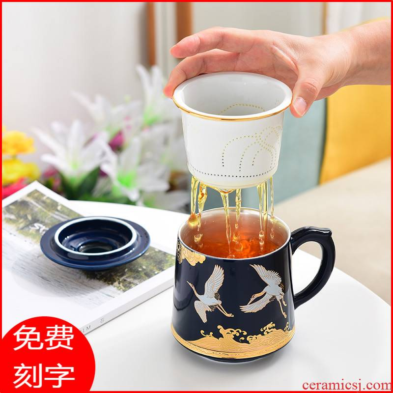 Chinese ceramic cups filter silver cup 999 sterling silver ms office make tea cup men 's high - grade tea cup