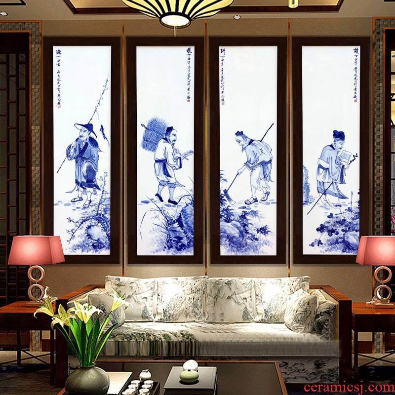 Hand the fishing qiao geng read jingdezhen porcelain plate painter in the sitting room background wall decoration hangs a picture of four new Chinese style screen