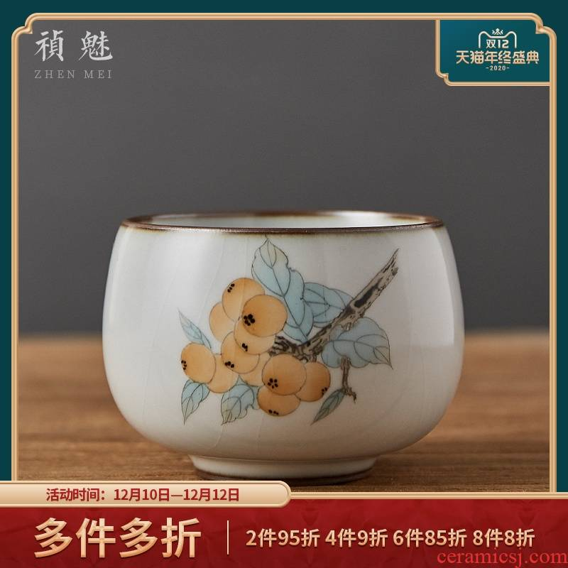 Shot incarnate your up on hand - made loquat of jingdezhen ceramic kung fu tea set sample tea cup master cup personal single CPU